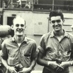Fran Leblanc (right) aboard ship during WWII